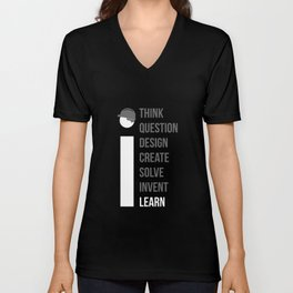 Think Question Design Create Solve Invent Learn Civil Engineering Engineer Mechanical Electrical Unisex V-Neck