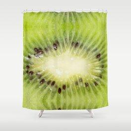 Fresh ripe green kiwi fruit macro Shower Curtain