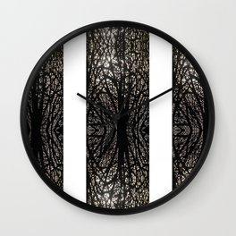 Gothic tree striped pattern white Wall Clock