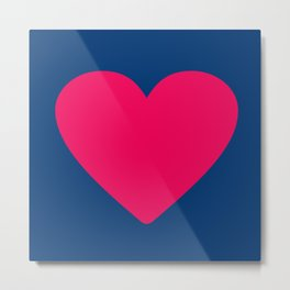 Pink heart in navy Metal Print