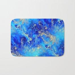 Blue & Gold Abstract II d171011 Bath Mat