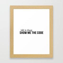 Show me the code Framed Art Print