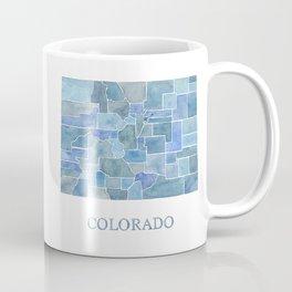 Colorado Counties BluePrint Watercolor Map Coffee Mug