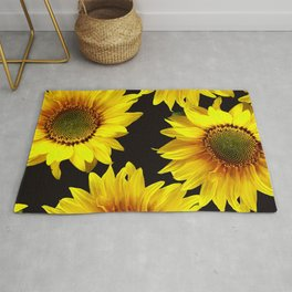 Large Sunflowers on a black background #decor #society6 #buyart Rug