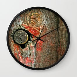 Weathered Wood Texture with Keyhole Wall Clock