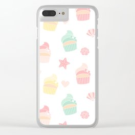 cute colorful pattern with cupcakes, starfishes, shellfishes, hearts, roses Clear iPhone Case