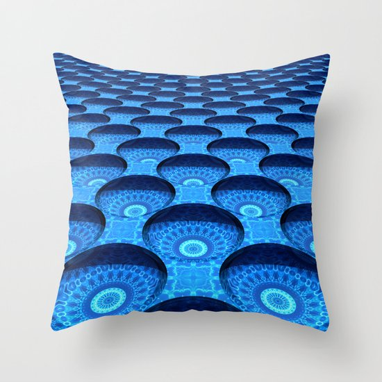 Blue Dimples with Kaleidoscopes Throw Pillow