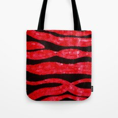 Zebra Print and Red Glitters  Tote Bag