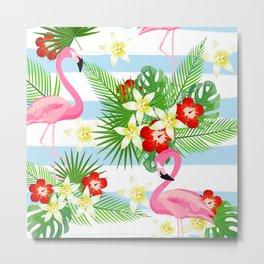 flamingo floral pattern Metal Print