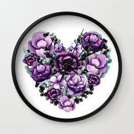 Purple Floral Heart Design Wall Clock