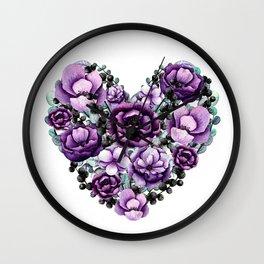 Purple Floral Heart Design Wall Clock