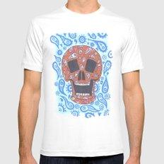 Paisley Skull Mens Fitted Tee MEDIUM White