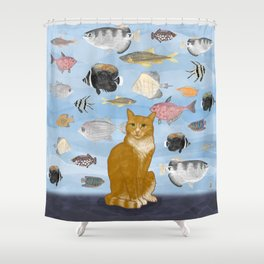 Kitty Dreams - Gwenny Watching the Fish Tank Shower Curtain