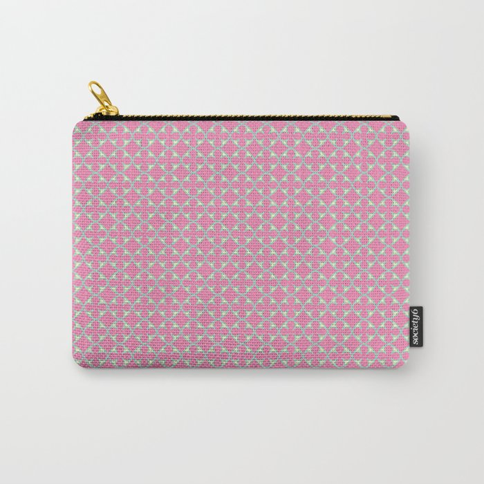 Soft Quatrefoil Pattern in Pink, Yellow & Green Carry-All Pouch