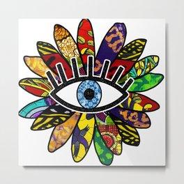 Greek Evil Eye African Flower Metal Print