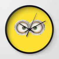 minions Wall Clocks featuring Banana! by MrWhite