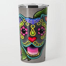 Smiling Pit Bull in Blue - Day of the Dead Pitbull Sugar Skull Travel Mug
