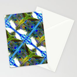 ART NOUVEAU FLYING GREEN PARROT  PEACOCK FEATHER WHITE ART Stationery Cards