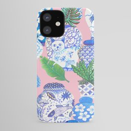 Chinoiserie Chic, Chinese ginger jars on pale pink iPhone Case