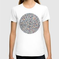 bedding T-shirts featuring Navy Garden - floral doodle pattern in cream, dark red & blue by micklyn