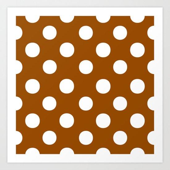 Polka Dots (White/Brown) Art Print
