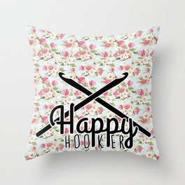 funny crochet vintage floral happy hooker Throw Pillow
