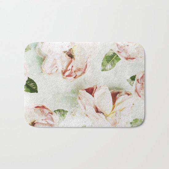 Roses & Foliage Watercolor Bath Mat