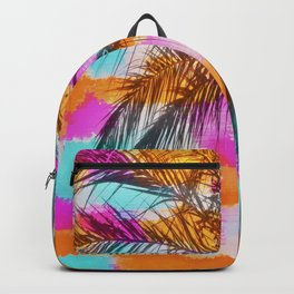 palm tree with colorful painting abstract background in pink orange blue Backpack