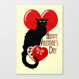 Le Chat Noir with Chocolate Candy Gift Canvas Print