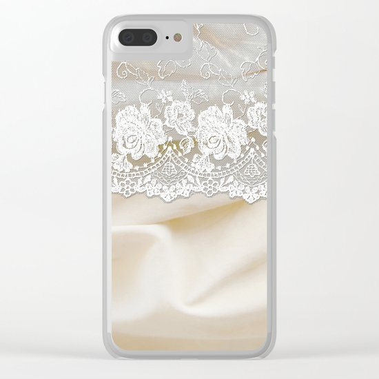 Bride lace - Luxury white floral elegant lace on cream silk fabric on #Society6 Clear iPhone Case