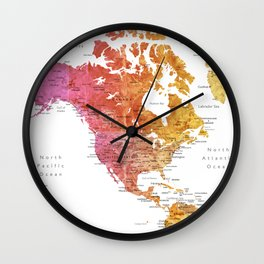 "Rainbow watercolor world map with cities ""Phoenix""  Wall Clock"
