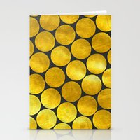 gold dots Stationery Cards featuring Gold Polka Dots by Juste Pixx Designs