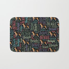 Beagle silhouette and word art pattern Bath Mat