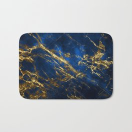 Exquisite Blue Marble With Luxury Gold Veins Bath Mat