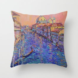 Sunset Over The Grand Canal In Venice -palette knife urban city landscape by Adriana Dziuba Throw Pillow