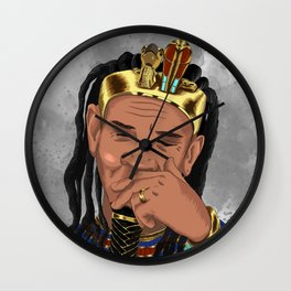 King With Crown Thinking Uncertain About Future, Grey Background Wall Clock