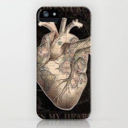 adventure heart-world map iPhone Case