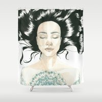 tattoo Shower Curtains featuring Tattoo by Judit Mallol