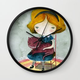 Alice In Watercolorland Wall Clock