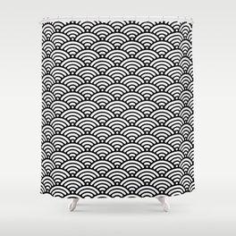 Black White Mermaid Scales Minimalist Shower Curtain