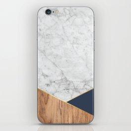 White Marble - Wood & Navy #599 iPhone Skin