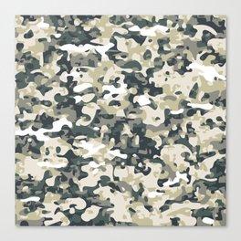 Faux Digital Urban Woodland Camouflage Canvas Print