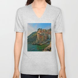 Italy. Cinque Terre - Canal side Unisex V-Neck
