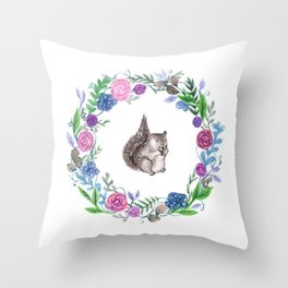 Squirrel and Wreath Watercolor Throw Pillow
