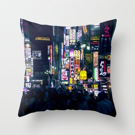 Neon Signs in Tokyo, Japan / Night City Series Throw Pillow