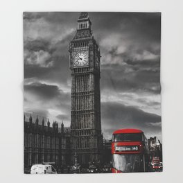 London - Big Ben with Red Bus bw red Throw Blanket