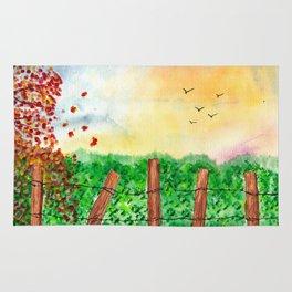 Sunset Landscape Watercolor Rug
