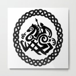 Odin And Sleipnir In Celtic Ring Metal Print