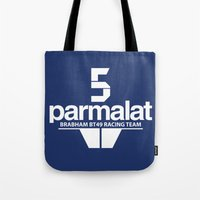 f1 Tote Bags featuring Brabham F1 Racing Team BT49 by Krakenspirit