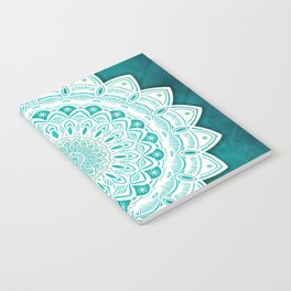 White Mandala on Blue Green Distressed Background with Detail and Textured Notebook